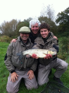 A nice four pound plus chub for Christian Hollingbery and his Dad George.