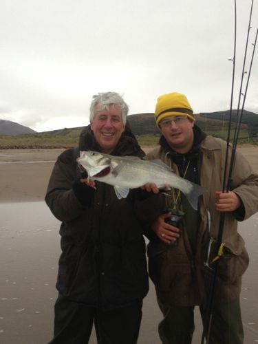 David Mitchell and I with a nice Tralee Bay bass from Ireland where they have sensible conservation policies