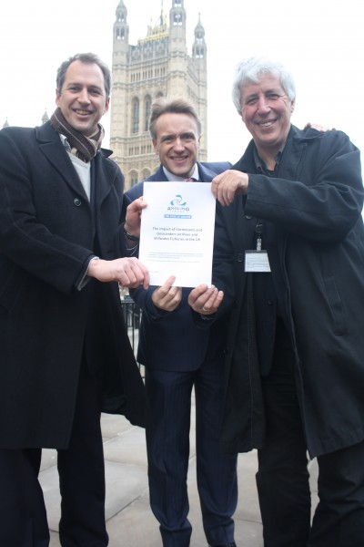 Punching our weight in Westminster - Mark Lloyd and myself hand a copy of the Angling Trust cormorants dossier to Charles Walker MP, Vice Chair of the All Party Angling Group