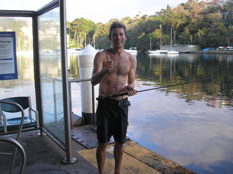 Failure to adjust his clutch meant an early morning swim in Sydney Harbour for Ollie Scott