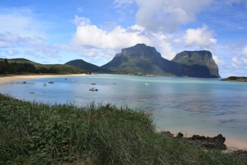The lagoon at Lord Howe looking towards Mount Gower to the south.