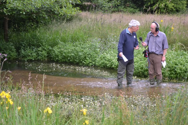 Angling Trust Campaign Chief Martin Salter being interviewed in Hertfordshire's River Mimram by legendary radio presenter John Waite for the BBC Radio 4 programme Face the Facts to be broadcast this week.