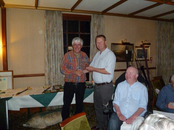 Martin presented with last year's trophy by Trevor and Budgie after his 'lucky' barbel from a flooded Hampshire Avon. No such joy this time although some great fish were landed.