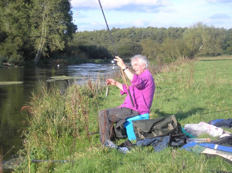 A happy Keith Elliot indulging in some 'Classic Angling' with the Avon dace and roach