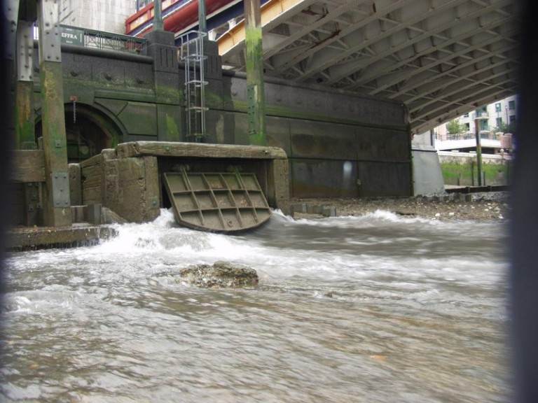 One of 34 combined sewer overflows that discharge staight into the river and which will be intercepted by the new Thames Tideway Tunnel
