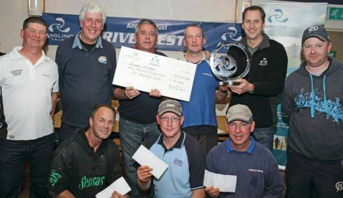 RiverFest founder Dave Harrell and Angling Trust boss Mark Lloyd present the cheques and trophy to 'Spud Murphy and the other winners of a great two day final on the Wye at Hereford
