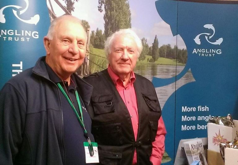 Carp Society boss Dave Mannall (left) with Tim Paisley. Dave has been the driving force behind the Sandown shows and remains a great supporter of the Angling Trust