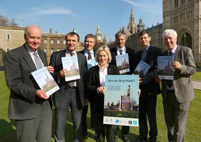 The launch of 'Are we fit to Frack?' outside Parliament in 2014 with MPs Alan Whitehead(Lab), Tessa Munt (LibDem) and Zac Goldsmith (Con)