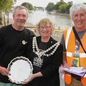 Tidefest 2014 champion Clive Westwood receives his cheque and trophy after catching 34lbs of tidal Thames bream