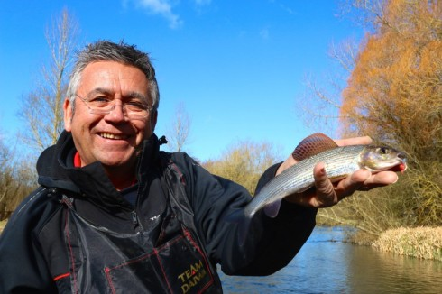 Dave Harrell in grayling heaven with a rare hen fish on a day when only the big males came out to play