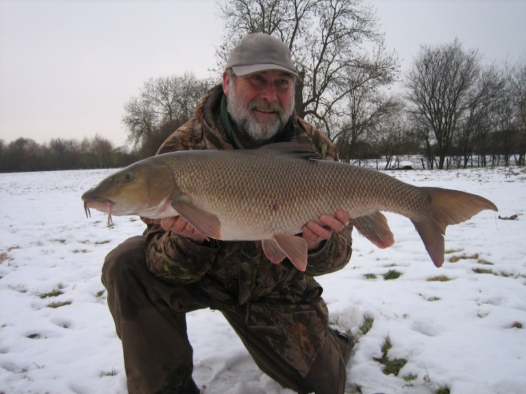 Keith's float caught 17lb barbel in the snow - a rare capture in all sorts of ways